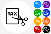 Tax Cut Icon on Flat Color Circle Buttons