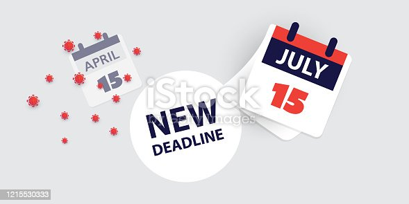 New Revised US Tax Deadline Due to the Coronavirus Pandemic - Calendar Concept Template Creative Design in Freely Scalable and Editable Vector Format
