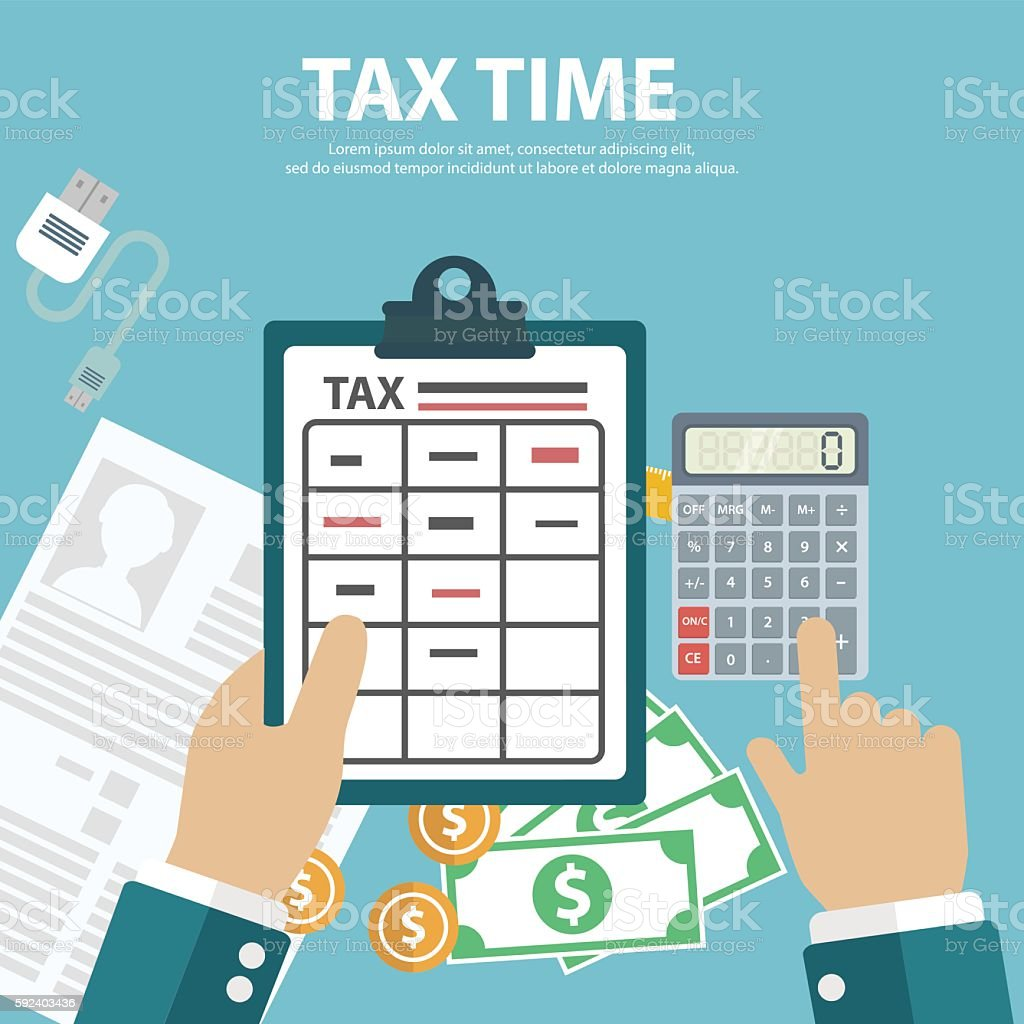 Tax day design,payment. Government and State taxes. Data analysis vector art illustration