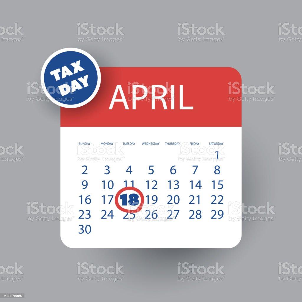 US Tax Day Icon - Calendar Design Template 2017 vector art illustration