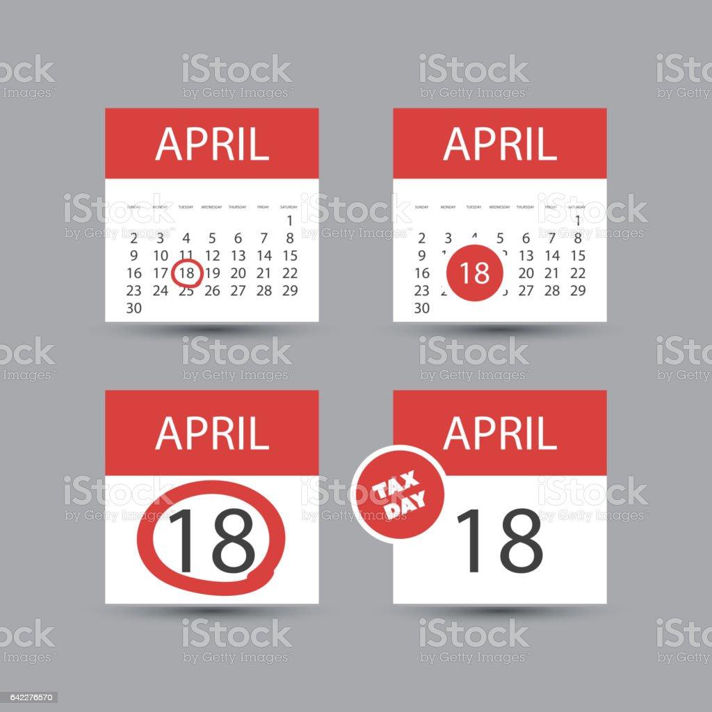 us tax day icon set calendar design template 2017 2017年のベクター