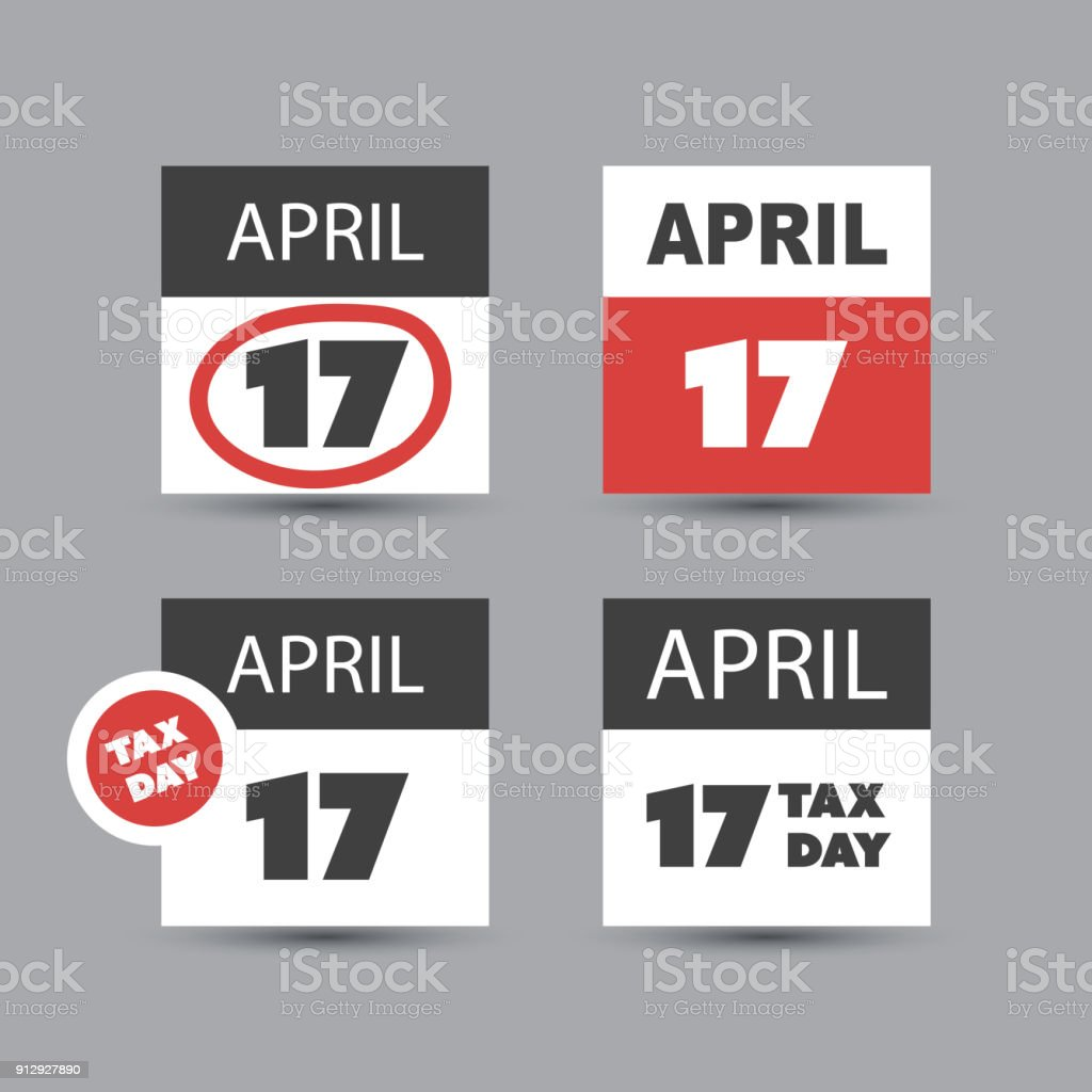 Us Tax Day Icon Set Calendar Design Template 2018 Stock Vector Art