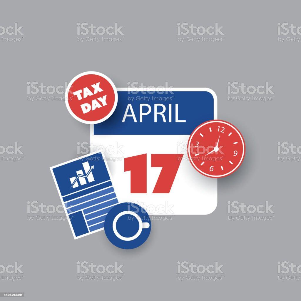 US Tax Day Reminder - Calendar Design Template 2018 vector art illustration
