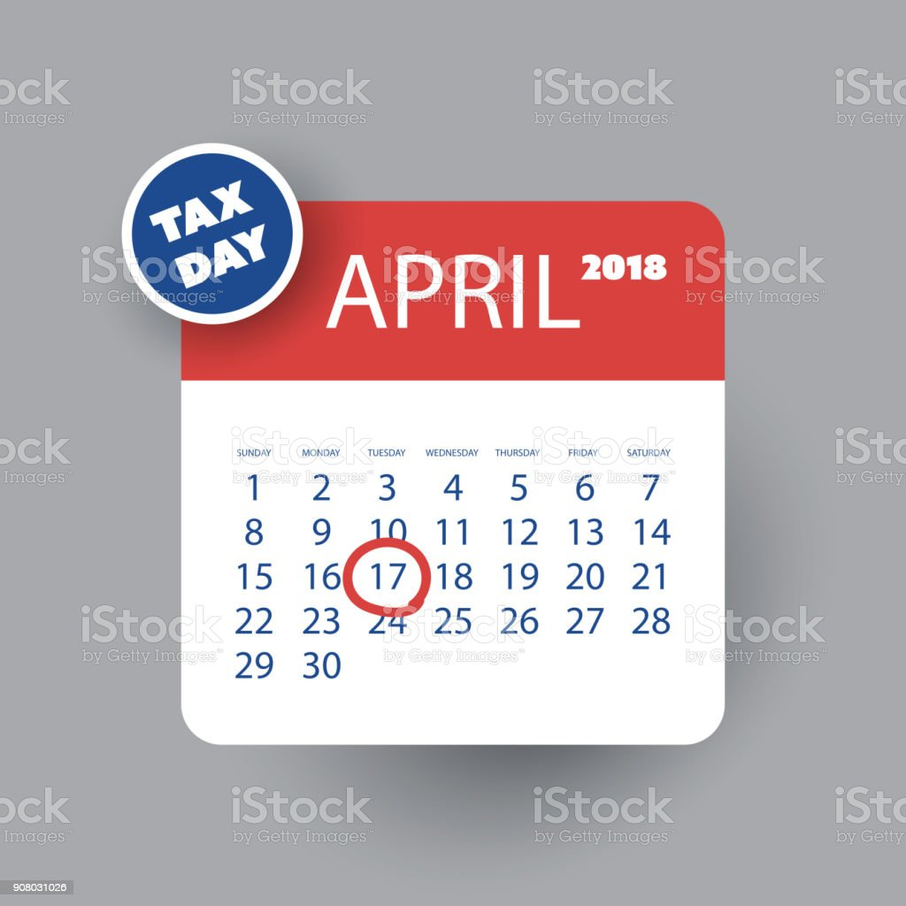 Calendar Reminder Design : Us tax day reminder calendar design template stock