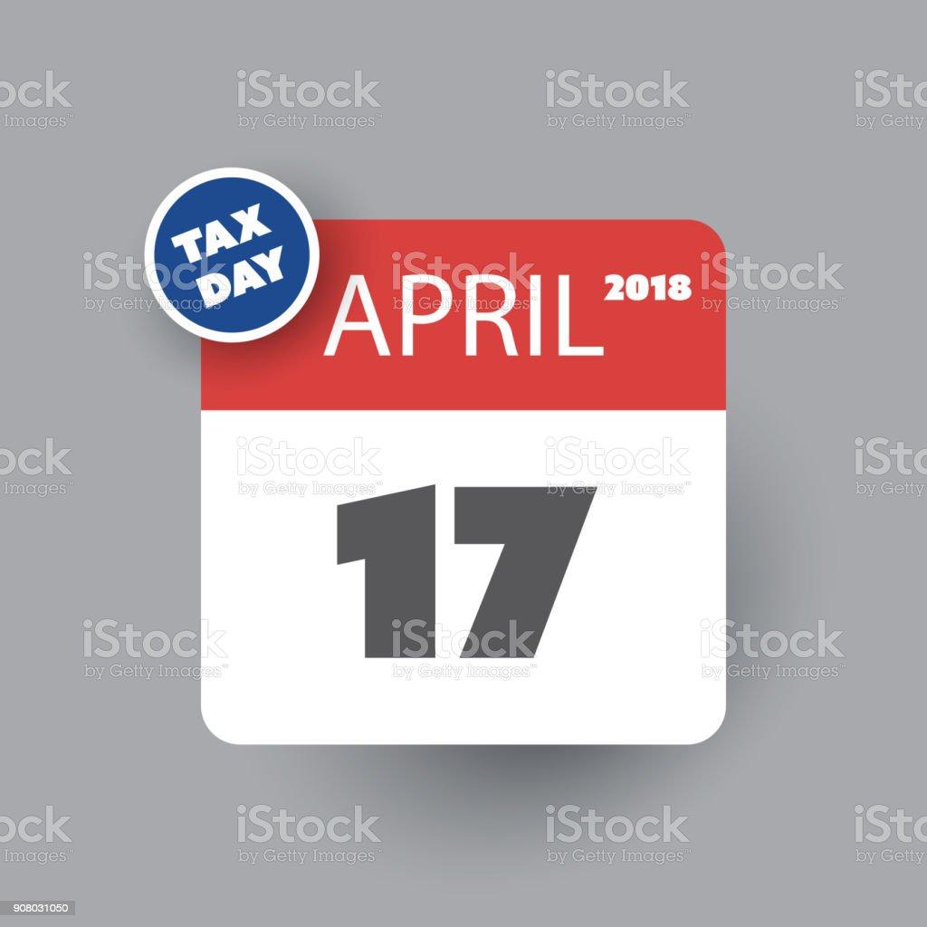 US-Steuer Tag Erinnerung - Kalender-Design-Vorlage 2018 – Vektorgrafik