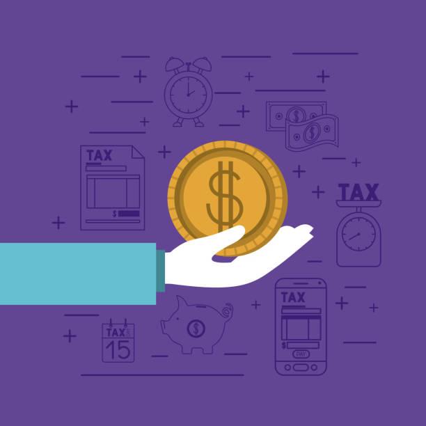 impuestos al día sistema iconos - ilustración de arte vectorial