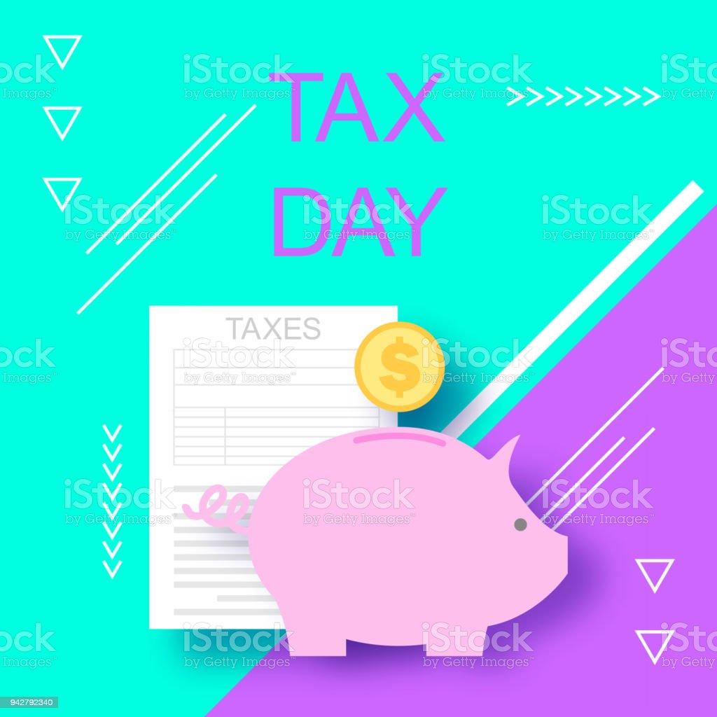 Steuer-Tag. Steuerformular. Spardose mit Münze. Steuern. Vector Illustration Hintergrund. Das Konzept der Steuer Hilfe BusinessServices – Vektorgrafik