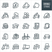 A set of tax deductions icons that include editable strokes or outlines using the EPS vector file. The icons illustrate items that can be used as tax deductions and include - solar, health insurance, investments, savings, family deductions, energy efficient home, parents with baby, electric vehicle, camera equipment, charitable donations, education, home ownership, moving expenses, smartphone, furnace, air conditioner, windmills, business, vehicle, employees, computer equipment, office furniture and other related icons.