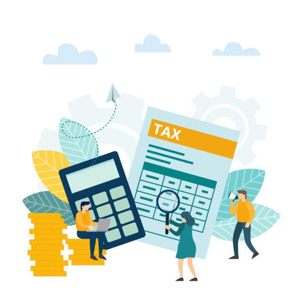 ilustraciones, imágenes clip art, dibujos animados e iconos de stock de análisis financiero tributario, impuesto en línea, concepto de servicio contable. - taxes