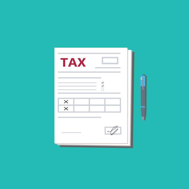 Tax form and pen. Top view. Modern flat design graphic elements. Vector illustration. Tax form and pen. Top view. Modern flat design graphic elements. Document on the blue background. Vector illustration. 1040 tax form stock illustrations