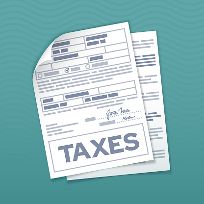 Tax form documents for income tax preparation and tax due.
