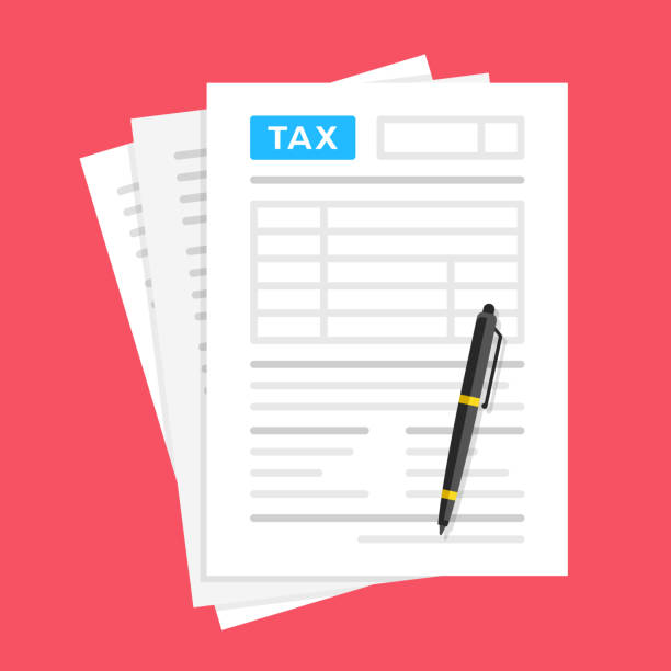 Tax form. Financial document and pen. Filling tax form. Flat design. Top view. Vector illustration Tax form. Financial document and pen. Filling tax form. Flat design. Top view. Vector illustration budget backgrounds stock illustrations