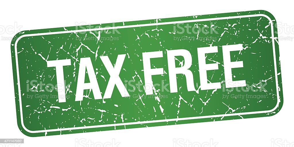 tax free green square grunge textured isolated stamp stock vector