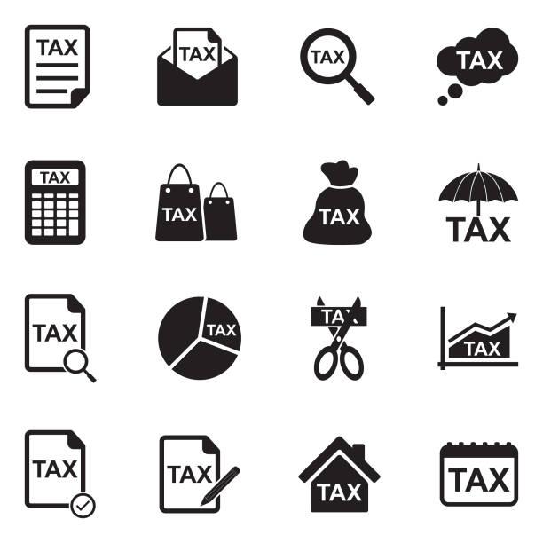 Tax Icons. Black Flat Design. Vector Illustration. Money, Bank, Tax, Agent, Form taxes stock illustrations