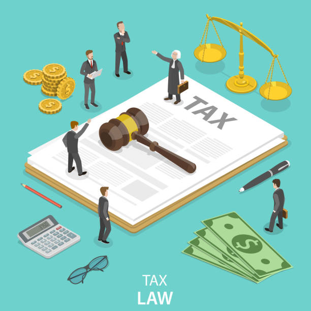 Tax law flat isometric vector concept. Tax law flat isometric vector concept. People surrounded by the tax and justice attributes are disputing on something. judge law stock illustrations