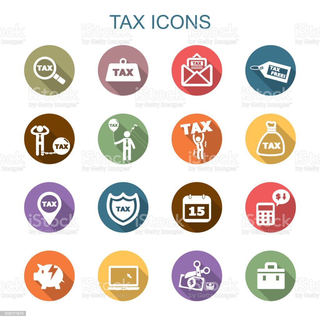 tax long shadow icons vector art illustration