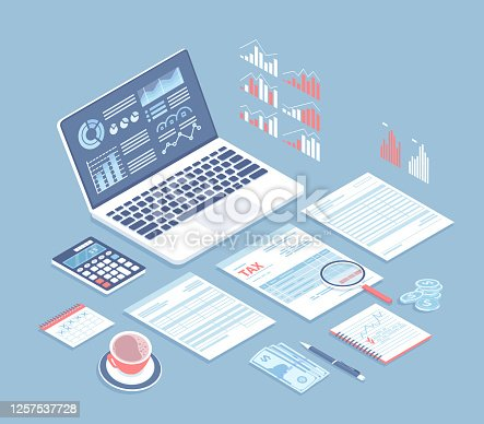 istock Tax payment, bookkeeping, accounting. Tax form, laptop with charts on the screen, calculator, documents, money, magnifying glass, coffee on the table. Isometric 3d vector background. 1257537728