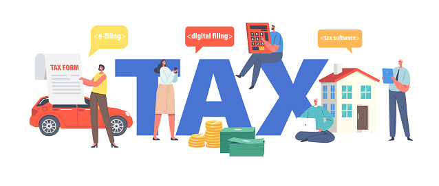 Tax Payment Concept. Characters Filling Application for Tax Form. Taxation for Property Digital Submitting System