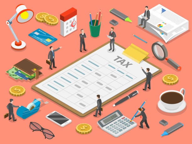 Tax payment flat isometric vector concept. Tax payment flat isometric vector concept. Tax report is lying surrounded by the people and corresponding attributes. taxes stock illustrations