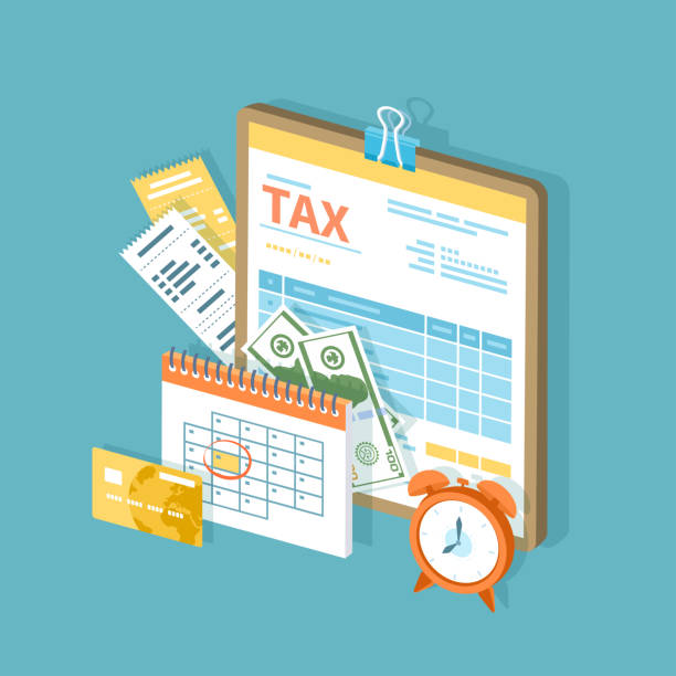 Tax payment. Government, State taxes. Payment day. Tax form on a clipboard, financial calendar, clock, money, cash, credit card, invoices.  Payday icon. Isometric 3d vector illustration. Tax payment. Government, State taxes. Payment day. Tax form on a clipboard, financial calendar, clock, money, cash, credit card, invoices.  Payday icon. Isometric 3d vector illustration. tax form stock illustrations