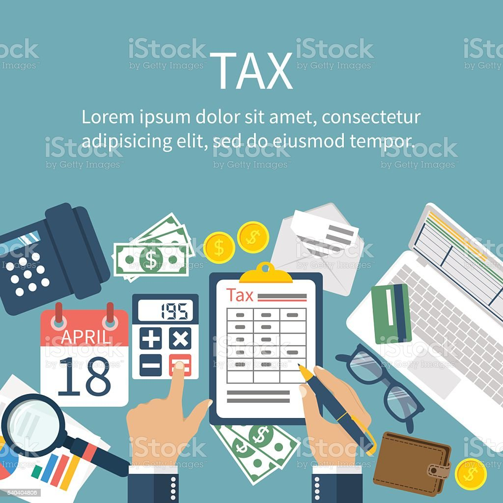 Tax payment. Government taxes. State taxes vector art illustration