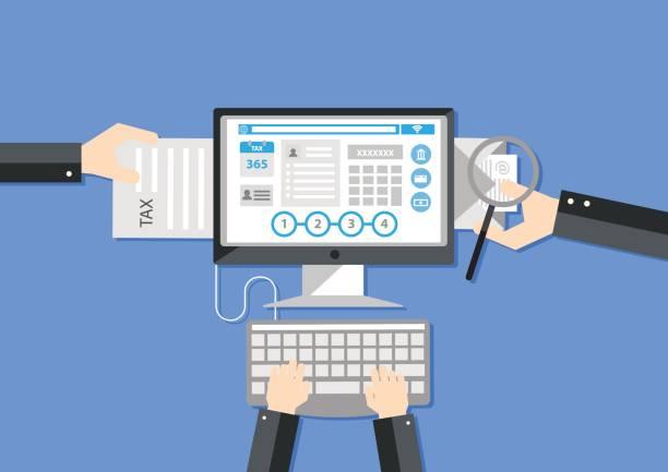 オンライン納税。フラットなデザイン elements.illustratio - エレクトロニクス産業点のイラスト素材/クリップアート素材/マンガ素材/アイコン素材
