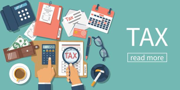 Tax payment. vector Tax payment. Data analysis, paperwork, financial research, report. Businessman calculation tax. Flat design vector illustration. Form pay ment of debt. Calculation return. Magnifying glass in hand. tax form stock illustrations