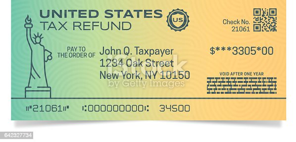 Tax refund check document concept illustration.