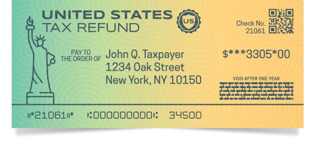ilustraciones, imágenes clip art, dibujos animados e iconos de stock de impuestos cheque de reembolso - taxes