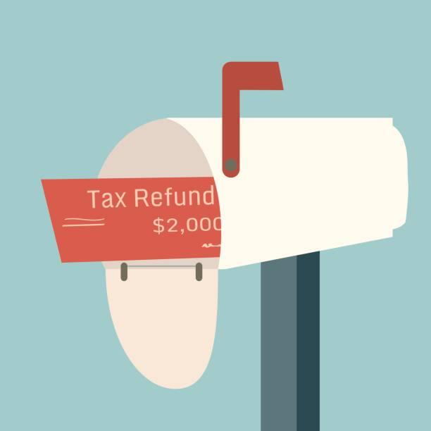 Tax refund check with the words Your Money arrives in your mailbox as payment. Tax refund check with the words Your Money arrives in your mailbox as payment. refund stock illustrations