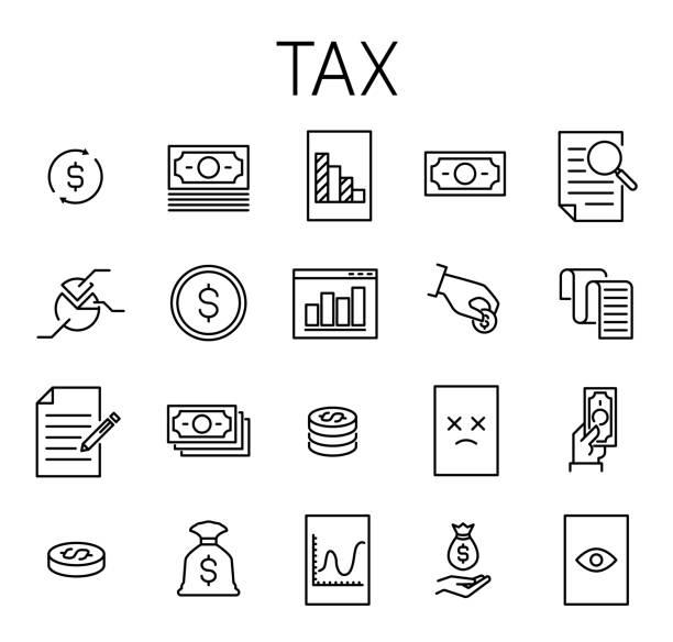 ilustraciones, imágenes clip art, dibujos animados e iconos de stock de conjunto de icono de vector relacionados con impuestos - taxes