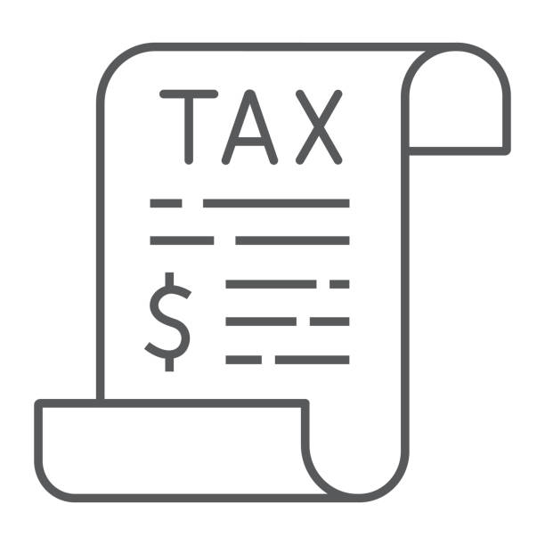 Tax thin line icon, business and finance, taxes sign, vector graphics, a linear pattern on a white background, eps 10. Tax thin line icon, business and finance, taxes sign, vector graphics, a linear pattern on a white background, eps 10 tax form stock illustrations