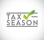 Tax time approval checkmark stamp concept icon