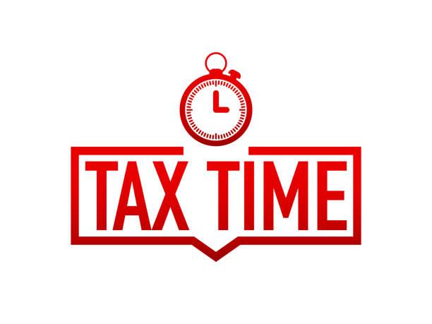 ilustraciones, imágenes clip art, dibujos animados e iconos de stock de impuesto de sello de tiempo rojo sobre fondo blanco. ilustración de vector - taxes