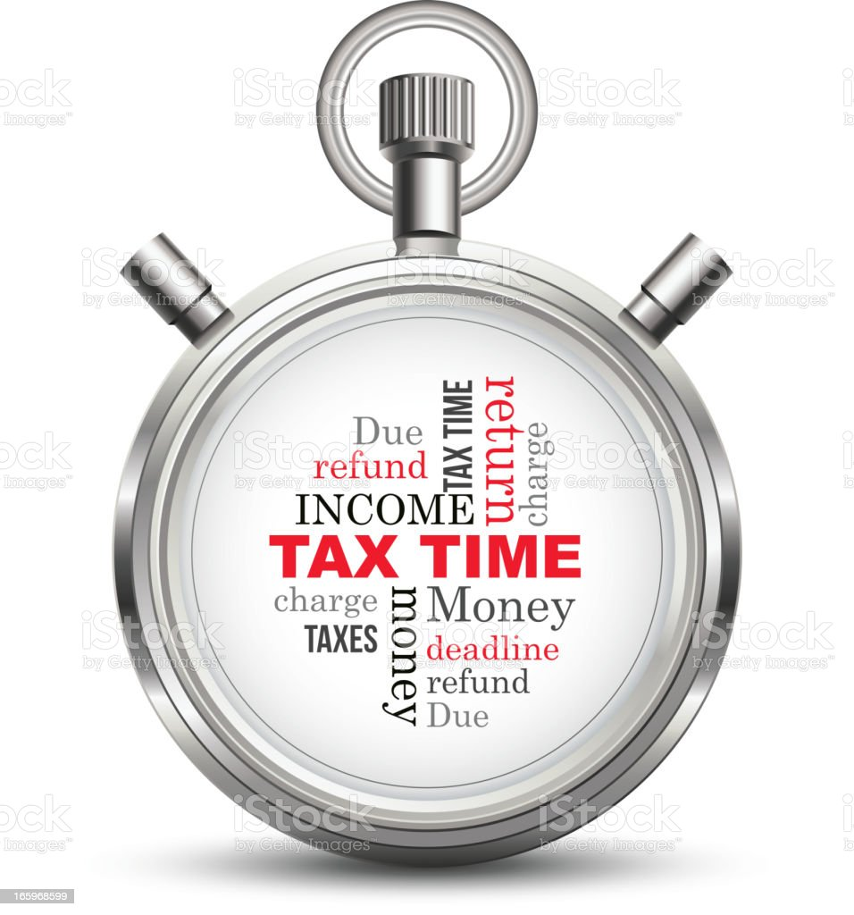 Tax time stopwatch concept royalty-free stock vector art