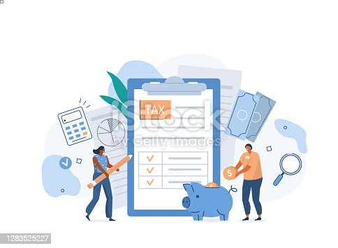 People filling Documents for Tax Calculation and making Tax Return. Characters Preparing Finance Report with Graph Charts. Accounting and Financial Management Concept. Flat Cartoon Illustration.
