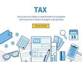 Concept for tax calculation. Business elements set. Vector flat line illustration.