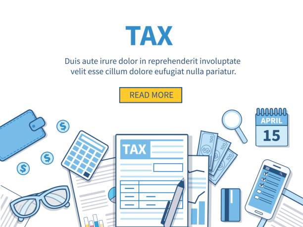 Tax Concept for tax calculation. Business elements set. Vector flat line illustration. tax form stock illustrations
