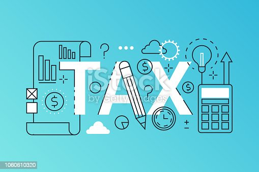 Tax word trendy composition banner. Outline stroke tax payments, financial law consulting, refund, business income report. infographic concept. Flat line icons vector header illustration