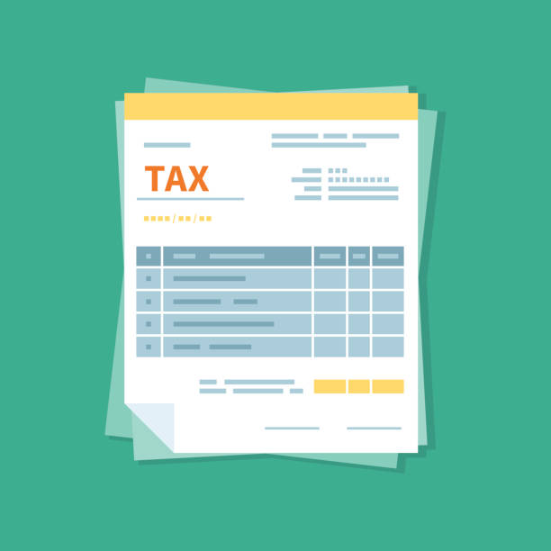 Taxation icon isolated. A simplified tax form. Unfilled, minimalistic form of the document. Payment and invoicing, business or financial operations sign. Template design in the flat style. vector art illustration