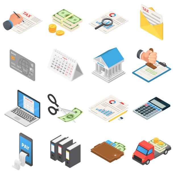 steuern buchhaltung geld symbole gesetzt, isometrische stil - isometric icons stock-grafiken, -clipart, -cartoons und -symbole