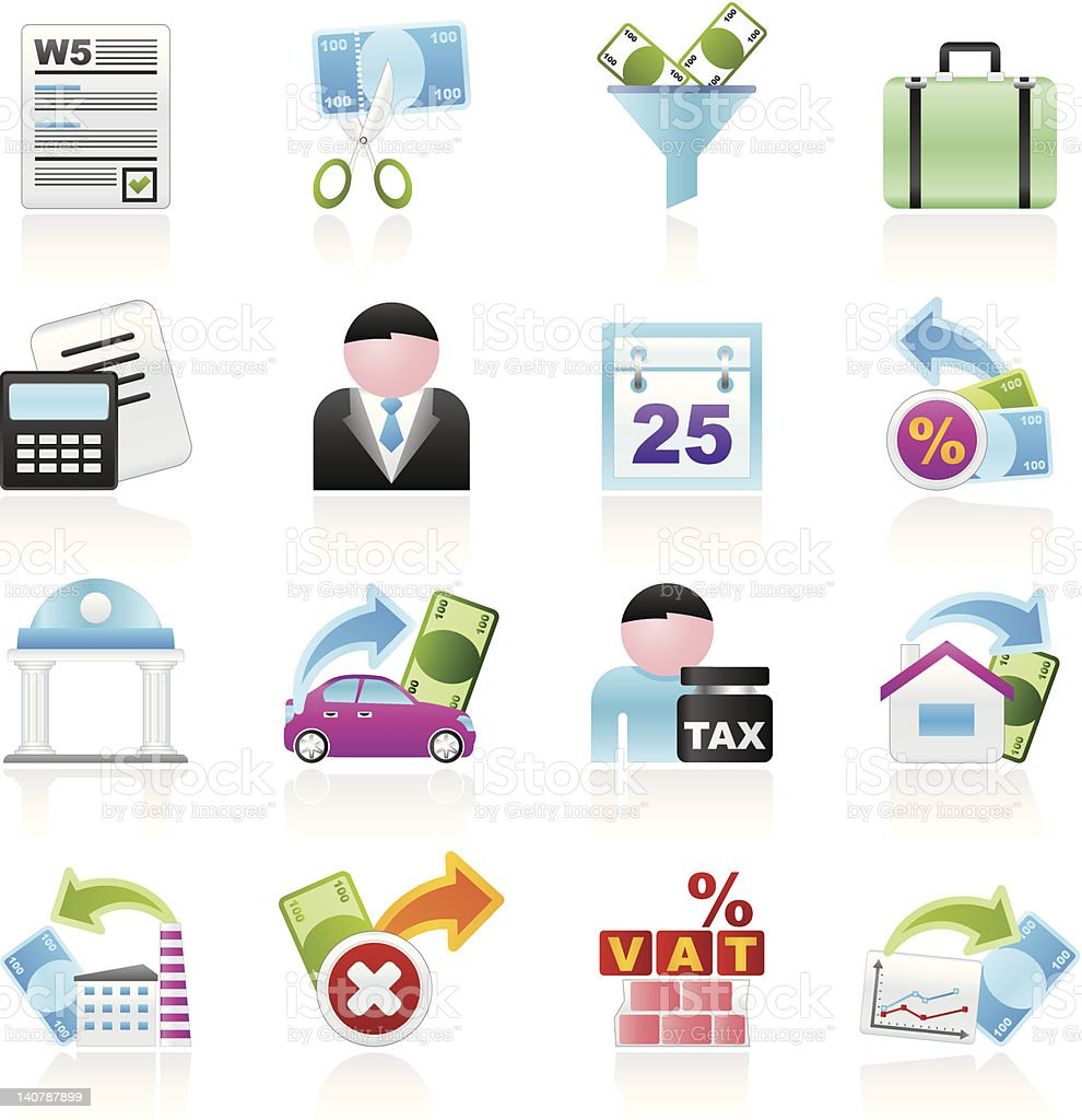 Taxes, business and finance icons royalty-free stock vector art