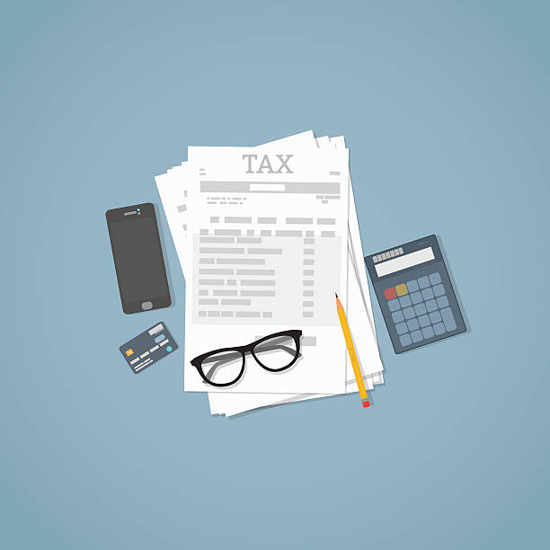 Taxes calculation illustration Flat illustration. Documents, pencil, business papers, calculator, glasses. Tax calculation. taxes stock illustrations