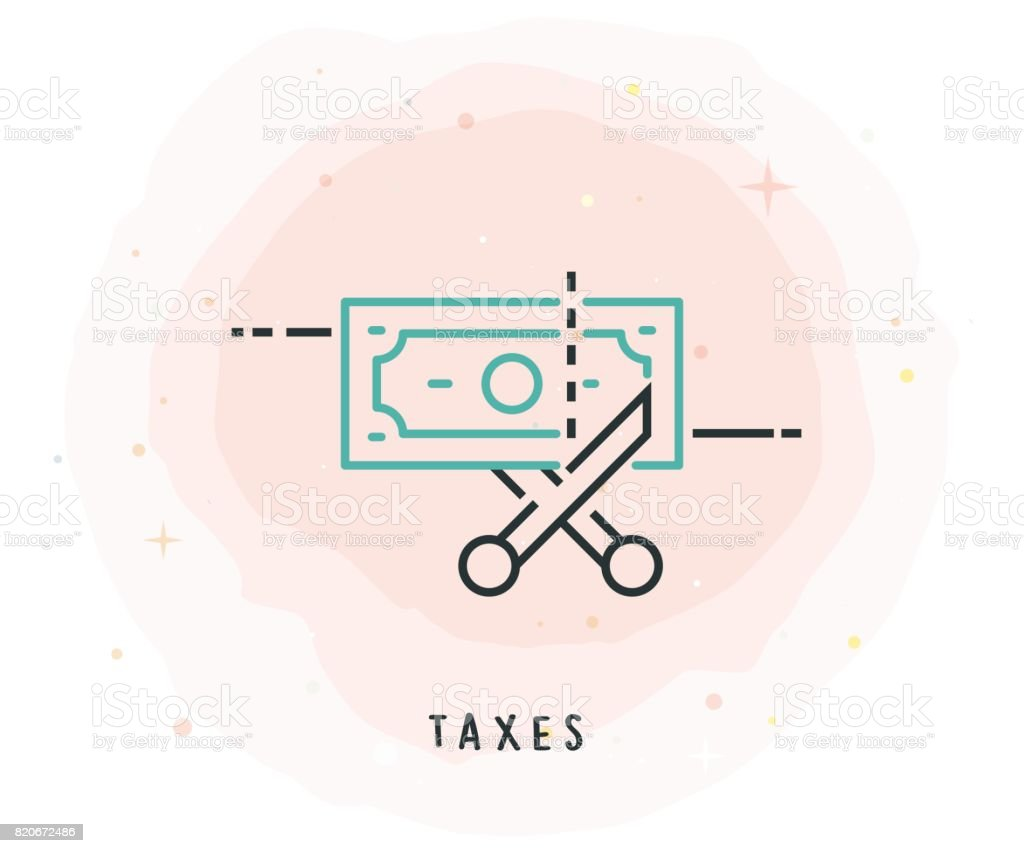 Taxes Icon with Watercolor Patch vector art illustration
