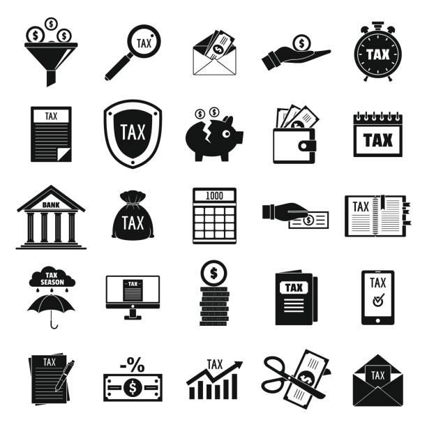 stockillustraties, clipart, cartoons en iconen met belastingen iconen set, eenvoudige stijl - taxi robber