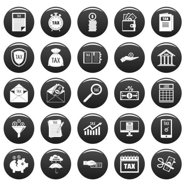 stockillustraties, clipart, cartoons en iconen met belasting pictogrammen instellen vetor zwart - taxi robber