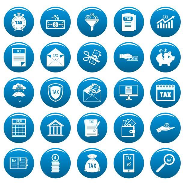 stockillustraties, clipart, cartoons en iconen met belasting pictogrammen instellen vetor blauw - taxi robber
