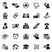 A set of taxes icons. The icons include tax preparation, tax refunds, calculator, owing taxes, paying taxes, cash, money, payroll taxes, tax forms, tax deductions, back taxes and debt, an alarm clock, tax center, mortgage, education and sales tax to name just a few.