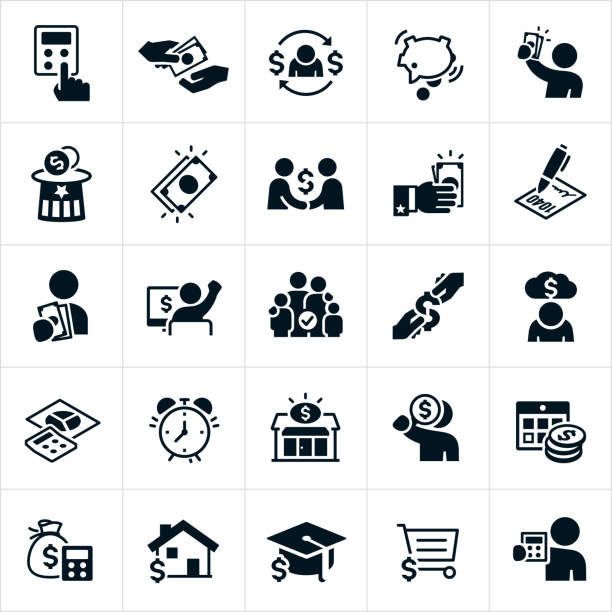 Taxes Icons A set of taxes icons. The icons include tax preparation, tax refunds, calculator, owing taxes, paying taxes, cash, money, payroll taxes, tax forms, tax deductions, back taxes and debt, an alarm clock, tax center, mortgage, education and sales tax to name just a few. budget symbols stock illustrations