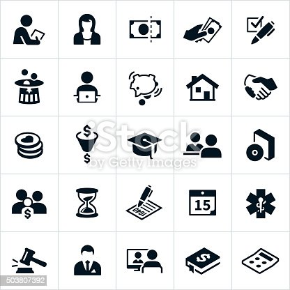 Icons related to taxes. The icons represent tax specialists, accountants, money, filing, deductions and other tax related concepts. Icons include an accountant, tax specialist, tax deductions, money, piggy bank, retirement nest egg, charitable contributions, forms, and other tax themes.